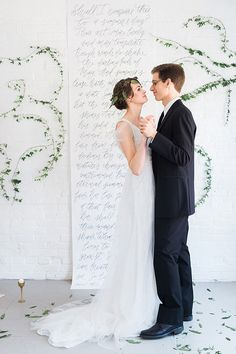 Calligraphed wedding backdrop framed by climbing ivy. It can be a great DIY project. Wedding Ceremony Backdrop, Wedding Wall, Wedding Signage, Free Wedding, Wedding Shoot, Wedding Themes, Wedding Blog, Diy Wedding, Wedding Decorations