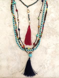 Multi Layer Bohemian Beaded Tassel Necklace in Fall Colors