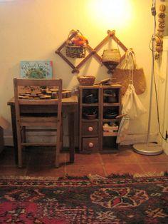 playtable & shelves (pine cone & orange garland)