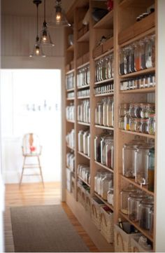New kitchen pantry storage cabinets open shelving ideas Kitchen Pantry Design, Kitchen Storage, Jar Storage, Storage Ideas, Kitchen Shelves, Glass Shelves, Kitchen Cupboard, Diy Kitchen, Storage Room