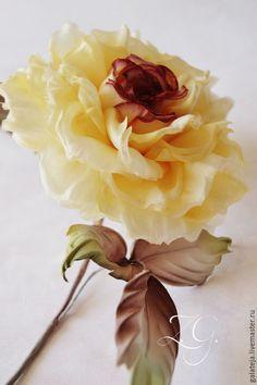 Купить Цветы из шелка Роза Лаудер - лимонный, желтая роза, ободок для волос, ободок с цветами