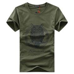 85feef4cc60 คอลเลคชั่นฤดูร้อน 17 Men s T-shirt Short-Sleeved พิมพ์ลายนกฮูก MT1212.  Camisade HomensCamisetaEstampas ...