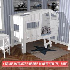 AKTION: Kinderbett STRANDHAUS Massivholz weiß + GRATIS Matratze ELBBRISE 90x200cm