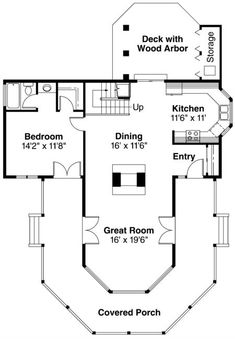 This country design floor plan is 1575 sq ft and has 2 bedrooms and has 2 bathrooms. The Plan, How To Plan, Small House Plans, House Floor Plans, Lofts, Two Sided Fireplace, Rustic Exterior, Cottage Plan, Tiny Spaces