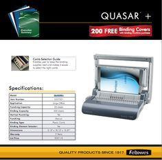 Fellowes Rebate: Purchase a Quasar 500 Manual Binding Machine and receive 200 free binding covers. Expires 7/31/2014 Rebate details: http://www.biggestbook.com/dyn/rebates/content/fellowes_quasar_1.1.14.pdf Shop at: http://www.officezilla.com/p-quasar-500-manual-comb-binding-machine-18-18-x-15-38-x-5-18-metallic-blue-FEL5227201.aspx #office #work #rebate