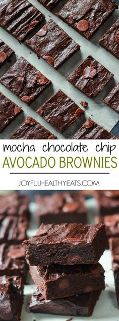 The Best Fudgy Avocado Brownies you will ever taste, packed with coconut sugar, chocolate chips, and coffee! The perfect guilt free dessert recipe for the summer! | joyfulhealthyeats.com #recipes