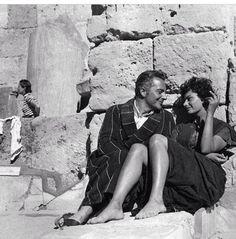 "Sofia Loren filming ""Legend of the Lost"" in Sabrata, Libya, 1957"