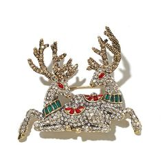 "Shop Heidi Daus ""Reindeer Couple"" Crystal Accented Pin, read customer reviews and more at HSN.com."