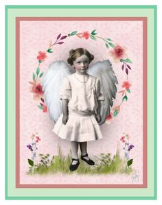 """Little Angel Vintage-style Greeting Card"" by judymjohnson ❤ liked on Polyvore featuring art and vintage"