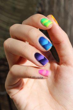 Simply Nailogical Mani Swap Nail Art - Neon Single Chevron Scaled Gradient Skittle 2