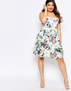 Image 4 ofPaper Dolls Plus Floral Printed Bandeau Prom Dress