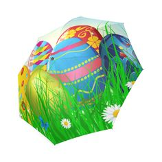 Happy Easter Eggs Butterfly Landscape Foldable Umbrella
