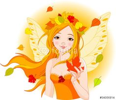"""Buy the royalty-free Stock vector """"Illustration of beautiful Autumn fairy with Maple Leaf"""" online ✓ All rights included ✓ High resolution vector file fo. Fairy Clipart, Autumn Fairy, Leaves Vector, Fairy Princesses, Doll Face, Vector Free, Aurora Sleeping Beauty, Clip Art, Princess Zelda"""