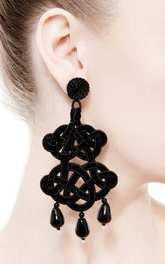 Vintage Victorian style Black Crystals chandelier earrings Dark ...