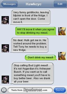 Texts From Superheroes - Thor vs Hawkeye