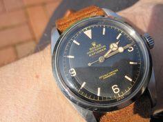 Rolex Explorer ref 6610 with red depth...