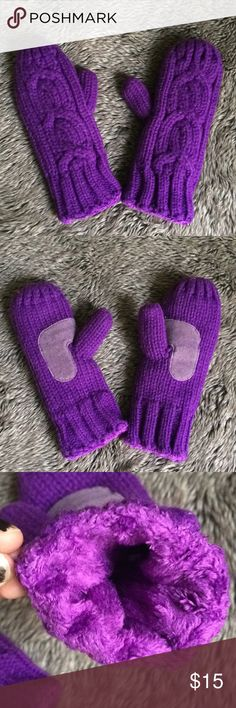 Knit mittens with super soft inside Worn only once, as they were a gift. Mega soft purple knit mittens will keep you warm all winter long. 🧤🧣 Other