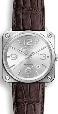 Bell & Ross Watch BRS 92 Officer Silver Watch available to buy online from with free UK delivery. Fine Watches, Men's Watches, Bell Ross, Luxury Watches For Men, Mechanical Watch, Brown Leather, Watch Straps, Silver, Accessories