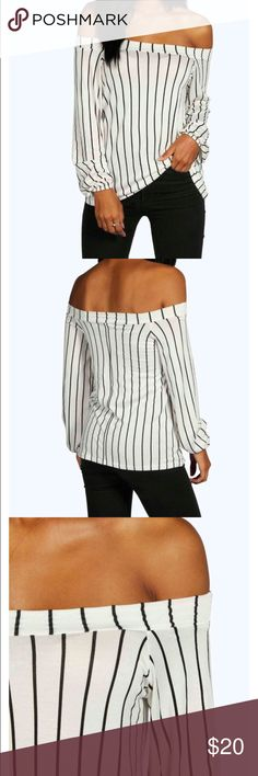 Stripped off shoulder top Black and white off shoulder top! Looks great with a pair of ripped black jeans or leather leggings for a night out! Never been worn before, new! Size 6 (small) Boohoo Tops Blouses