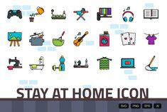 Outline Designs, Home Icon, All Icon, Game Controller, Stay At Home, Indoor Activities, Banner, Art Deco, Clip Art