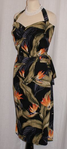 Vintage 1950s inspired Hawaiian sarong halter wiggle dress black with bird of paradise flowers L VLV rockabilly Viva by OuterLimitz on Etsy