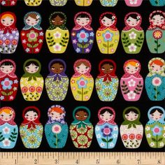Dolled Up Tula Fabric Russian stacking dolls sold by TulaFabrics