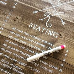 """Today's project: Hand lettered seating chart on wood. Thanks sharpie for the awesome new paint pens! #sharpie #wood #rusticchicwedding #pittsburghwedding #loreemayerdesign #handlettering #seatingchart #shaylahawkinsevents"" Photo taken by @loreemayer_design on Instagram, pinned via the InstaPin iOS App! http://www.instapinapp.com (06/15/2015)"