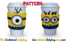 PDF Crochet Pattern Minion Coffee Cup Cozies I don't knit but I would love to purchase one of these from one of my crafty friends, who wouldn't want a minion to go? :D