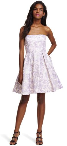 Strapless Floral Metallic Jacquard Party Dress - Adrianna Papell