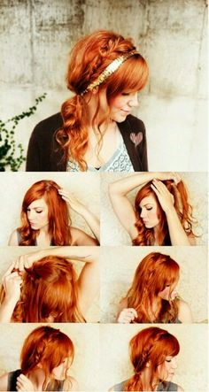 Hairdo #2 hairband braid & side ponytail Popular Hairstyles, Pretty Hairstyles, Girl Hairstyles, Braided Hairstyles, Updo Hairstyle, Wedding Hairstyles, Style Hairstyle, Braided Updo, Wedding Updo