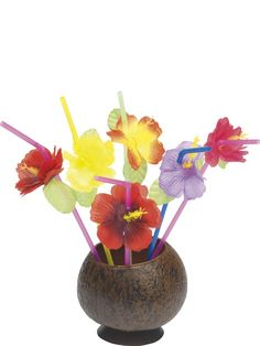 9879b353a9 Smiffys Hawaiian Fancy Dress Pack of 12 Novelty Drinking Straws with  Flowers New for Like the Smiffys Hawaiian Fancy Dress Pack of 12 Novelty  Drinking ...