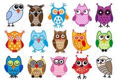 Cute owls, digital clip art set, clipart, vector, graphic design set for kids…