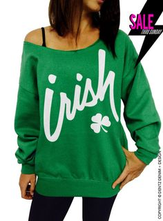 For this St. Patrick's Day grab this cute Irish Clover womens off the shoulder slouchy oversized sweatshirt from Resis-Dentz Denim + Design. St Patricks Day Clothing, Independance Day, St Patrick's Day Outfit, St Patrick Day Shirts, Slouchy Sweater, Online Shopping For Women, Clothes For Women, Sweatshirts, Hoodies