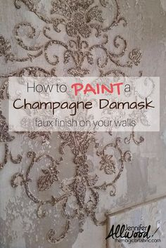 Faux finish for walls from The Magic Brush using metallic, texture and a beaded stencil. DIY Video how to paint this champagne damask and other designs.