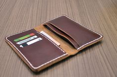 Hand Stitched  Leather iPhone 5 Wallet Case Womens by LeatherWay, $39.00