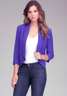 Shawl collar crop jacket
