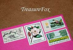 Reserved Custom order for jonpon12 .. Botanical Beauties .. Unused Vintage US Postage Stamps to mail 100 wedding invitations sold on Etsyl by TreasureFox, $140.00