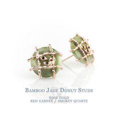 Bamboo Jade Donut Studs