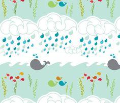 Whalesley fabric by mrshervi on Spoonflower - custom fabric Whale Themed Nursery, Nursery Themes, Nursery Ideas, Room Ideas, Fabric Shop, Custom Fabric, Boy Room, Kids Room, Catching Fireflies