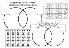 Here are templates to compare and contrast fairytales in a venn diagram.There are sheets to compare characters in the same fairytale or there is a blank template to compare characters from different f
