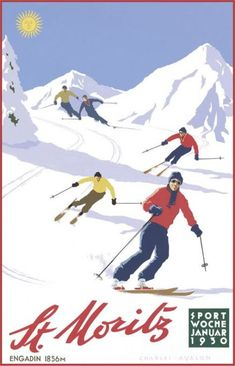 'St Moritz: Downhill Skiers' - by Charles Avalon - Vintage travel posters - Winter Sports posters - Art Deco - Pullman Editions Ski Vintage, Vintage Ski Posters, Vintage Winter, Vintage Movies, Illustrations Vintage, Illustrations And Posters, Illustration Art, Stations De Ski, Poster S