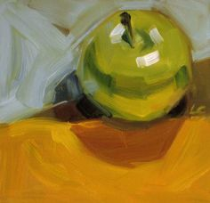 """Daily Paintworks - """"Whats The Point"""" - Original Fine Art for Sale - © Layne Cook Small Paintings, Oil Paintings, Apple Art, Object Photography, Daily Painters, Fruit Painting, Still Life Art, Fine Art Gallery, Cool Art"""