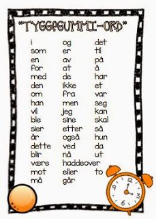 System for å øke fluency. Joy of Teaching: Beat the Clock - High Frequency Words in Norwegian Norwegian Words, High Frequency Words, Teaching Reading, Speech Therapy, Bar, Elementary Schools, Classroom, Teacher, Writing