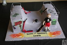 Skate park cake with skater, skateboards, scooters. https://www.facebook.com/pages/Sonias-Cake-Art/462406400477505