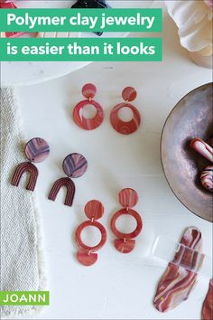 Make stunning earrings for the perfect accessory! Diy Jewelry Projects, Craft Projects, God Pictures, Joanns Fabric And Crafts, Polymer Clay Jewelry, Craft Stores, Diys, Creativity, Jewelry Making