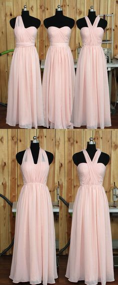 Convertible Blush Bridesmaid Dress, Wedding Party dress, Chiffon Prom Dresses, Prom Dress, Formal Evening Dress, A Line Bridesmaid Dresses,Bridesmaid Dress