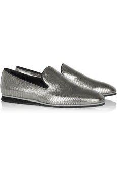 Tod's No_Code metallic lizard-effect loafers