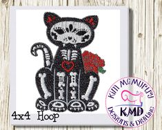 Excited to share this item from my #etsy shop: Embroidery Exclusive Mylar Skeleton Cat: Size 4x4, Instant Download, KMDemb Machine Embroidery Design