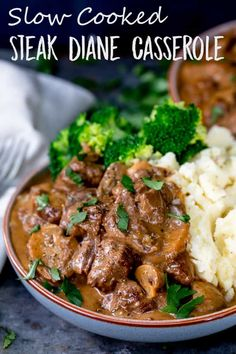 Slow Cooked Steak Diane Casserole - a great make-ahead meal, just thing if you're feeding a crowd! Cook in the oven, on the hob or in the slow cooker. #SlowCooker #Crockpot #SteakDiane #Casserole #SlowCooked #FamilyMeal