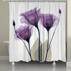 Shop for Laural Home X-Ray Lavender Floral 71 x 72-inch Shower Curtain. Get free delivery at Overstock.com - Your Online Bath